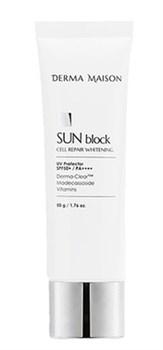 Солнцезащитный крем MEDI-PEEL Derma Maison Sun Blok Cell Repair Whitening SPF50+PA++++, 50гр - фото 12941